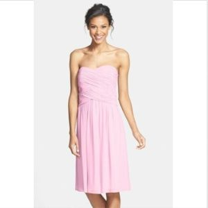 Donna Morgan Dress 10 Strapless Pleated Pink NWT